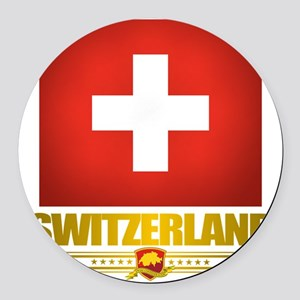 Switzerland (Flag 10) 2 Round Car Magnet