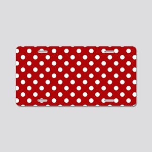 red-polkadot-laptop-skin Aluminum License Plate
