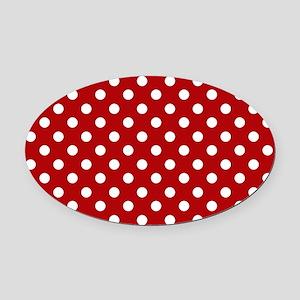 red-polkadot-laptop-skin Oval Car Magnet