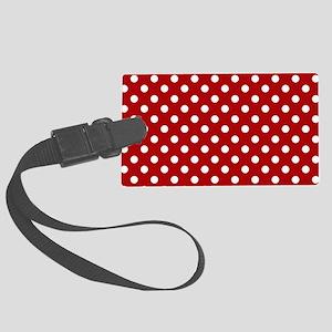 red-polkadot-laptop-skin Large Luggage Tag