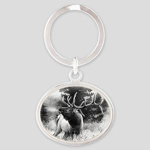Elk Bugle Oval Keychain