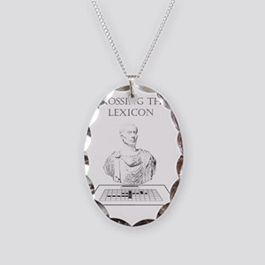Crossing the Lexicon Necklace Oval Charm