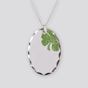 love_shamrock_white Necklace Oval Charm