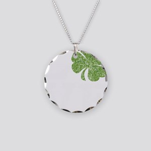 love_shamrock_white Necklace Circle Charm