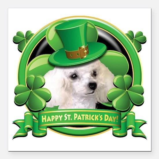 """Happy St Patricks Day Po Square Car Magnet 3"""" x 3"""""""