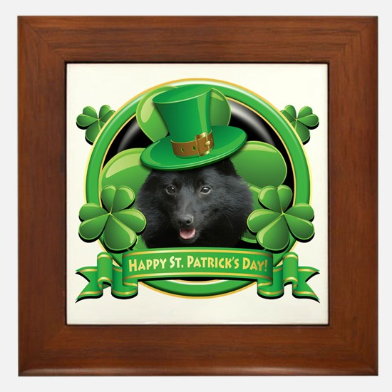 Happy St Patricks Day Schipperke Framed Tile