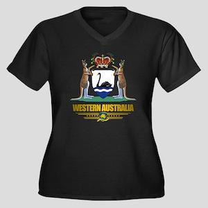 Western Aust Women's Plus Size Dark V-Neck T-Shirt