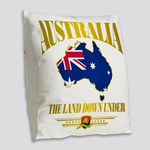 Land Down Under Burlap Throw Pillow