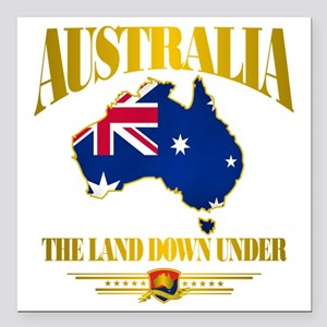 "Land Down Under Square Car Magnet 3"" x 3"""