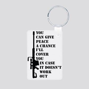 You can give peace Aluminum Photo Keychain