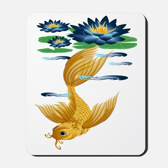 Gold Koi With Blue Lily-Trans Mousepad