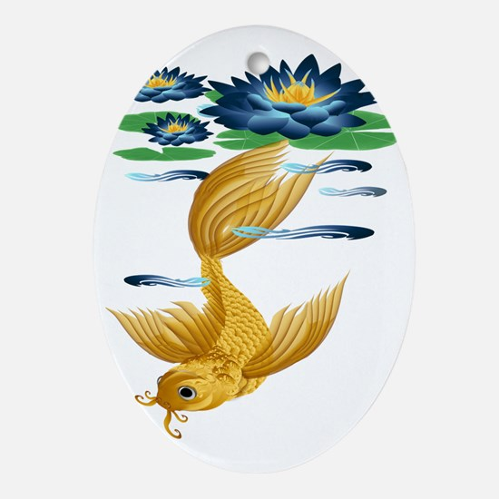 Gold Koi With Blue Lily-Trans Oval Ornament