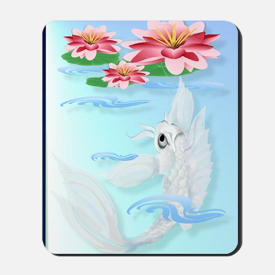 Silver Koi and Pink Lily Poster P Mousepad