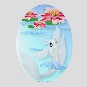 Silver Koi and Pink Lily Poster P Oval Ornament
