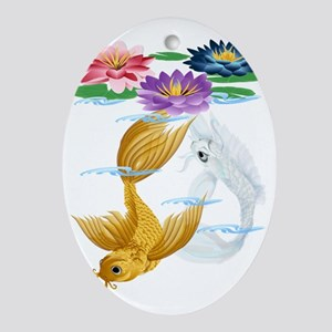 Gold and Silver Koi with Lilies-Tran Oval Ornament