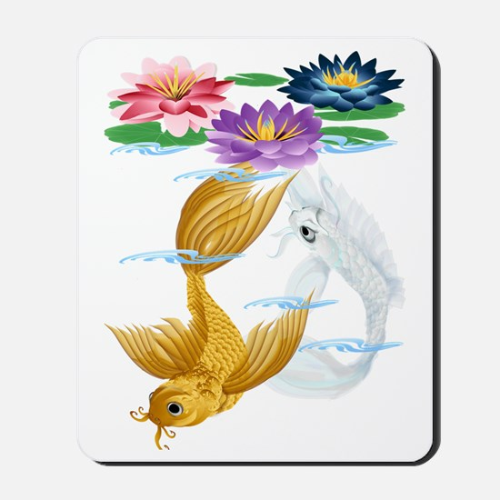 Gold and Silver Koi with Lilies-Trans Mousepad
