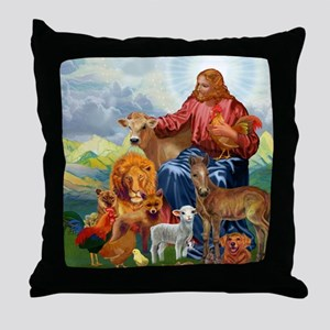 JesusAnimaltee2 Throw Pillow