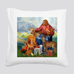 JesusAnimaltee2 Square Canvas Pillow