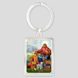 JesusAnimaltee2 Portrait Keychain