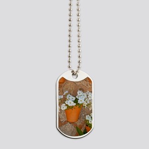 Wall with flowers Dog Tags
