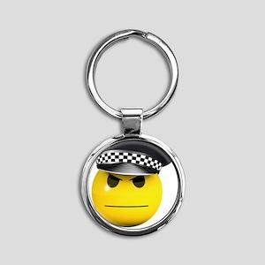 3d-smiley-police Round Keychain