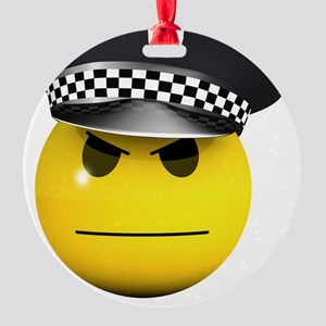3d-smiley-police Round Ornament