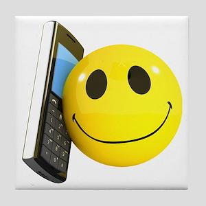 3d-smiley-mobile Tile Coaster