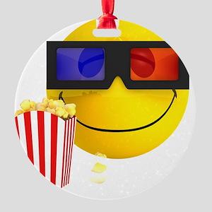 3d-smiley-popcorn Round Ornament
