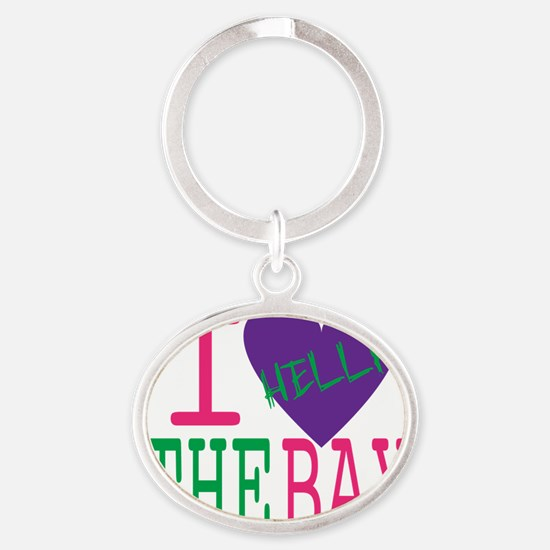 I Love The Bay (Purp).gif Oval Keychain