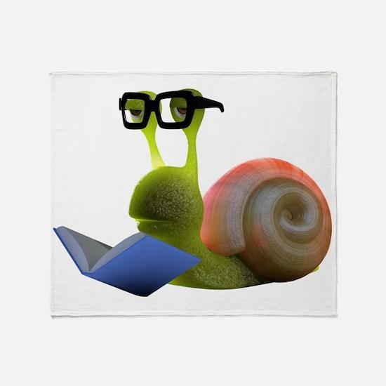 3d-snail-bookworm Throw Blanket