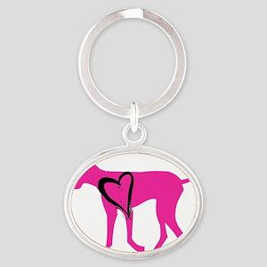 Pink-Dane Oval Keychain