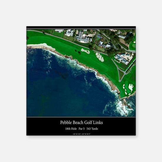 "Pebble Beach 18th Hole Square Sticker 3"" x 3"""