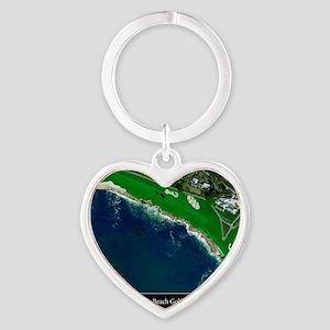 Pebble Beach 18th Hole Heart Keychain
