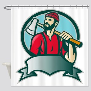 Lumberjack Forester With Axe Shower Curtain
