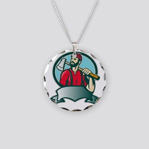 Lumberjack Forester With Axe Necklace Circle Charm