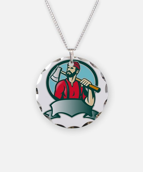 Lumberjack Forester With Axe Necklace