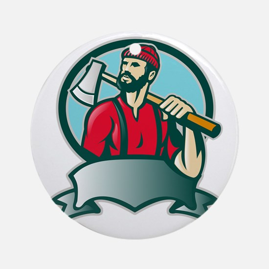 Lumberjack Forester With Axe Round Ornament