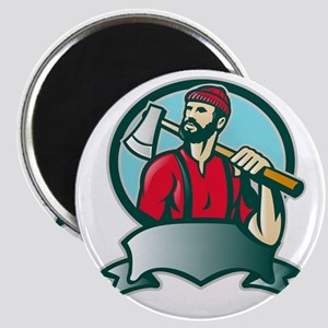 Lumberjack Forester With Axe Magnet