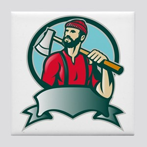 Lumberjack Forester With Axe Tile Coaster