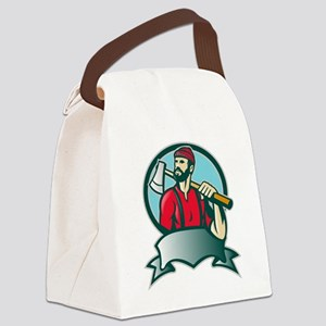 Lumberjack Forester With Axe Canvas Lunch Bag