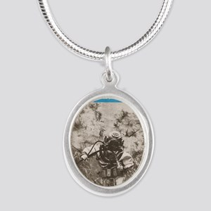 Our Navy Diver 1948 Silver Oval Necklace
