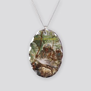 diving helmet book Necklace Oval Charm