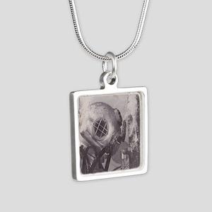Navy Deep Sea Diver Silver Square Necklace