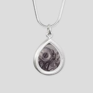 Navy Deep Sea Diver Silver Teardrop Necklace