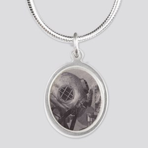 Navy Deep Sea Diver Silver Oval Necklace