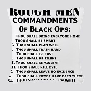 Art_Black Ops Commandments Woven Throw Pillow