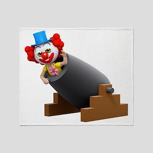 3d-clown-cannon Throw Blanket