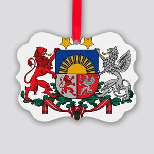 Latvia Coat of Arms Picture Ornament