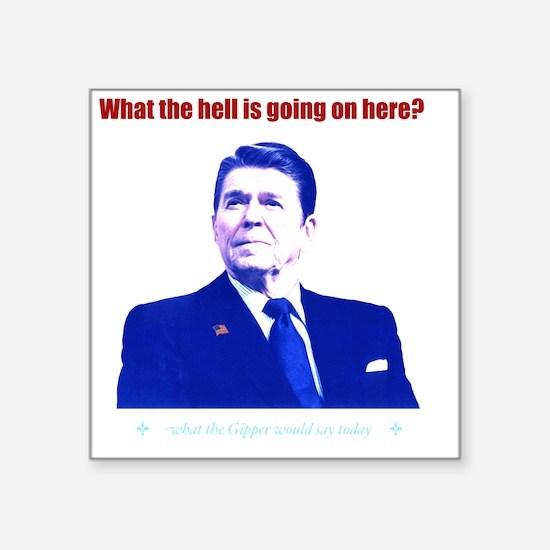 """Ronald Reagan Today Dark Square Sticker 3"""" x 3"""""""
