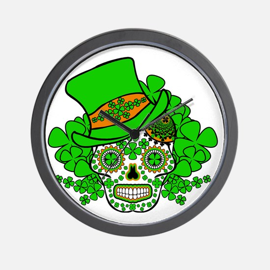 St.Patricks Day Skull 3 Wall Clock